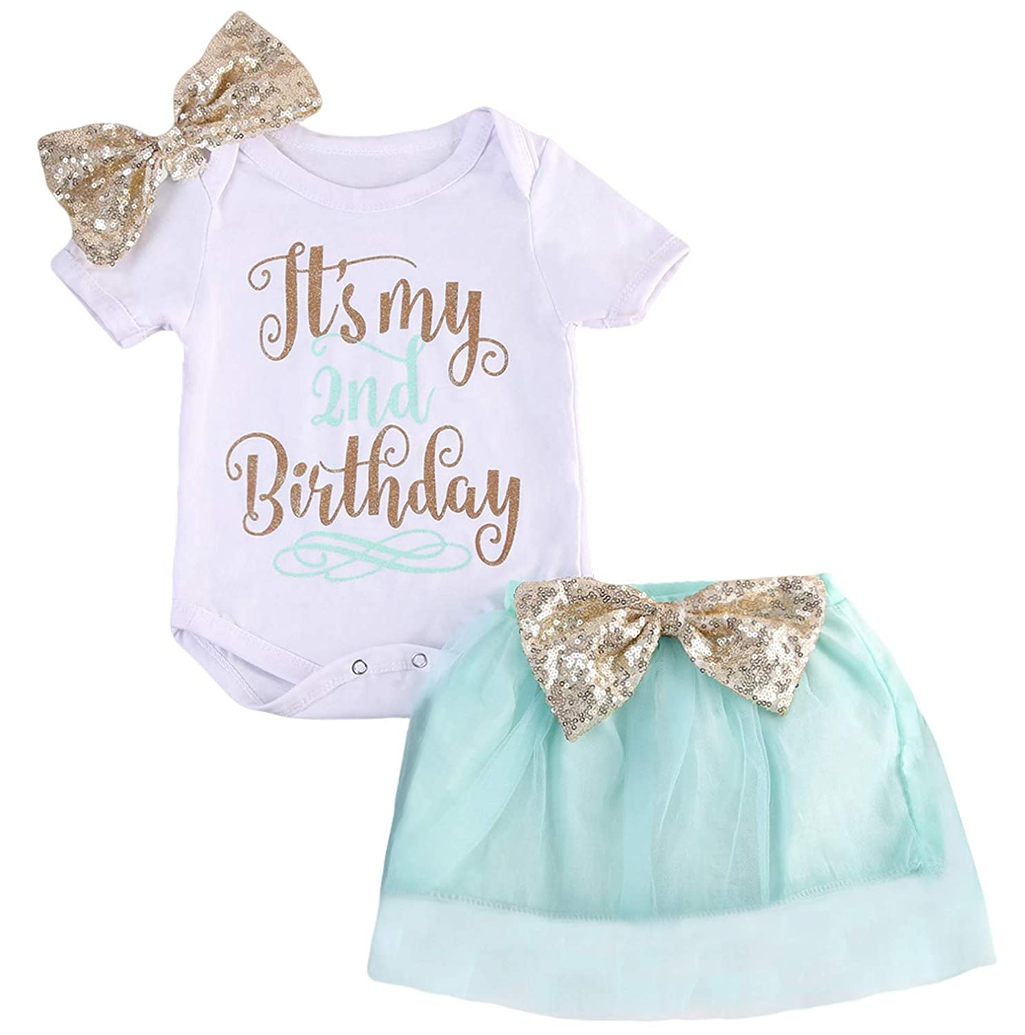 Baby Girl 3pcs Set Short Sleeve Letter Romper Tutu Skirt with Bow Headband Outfits