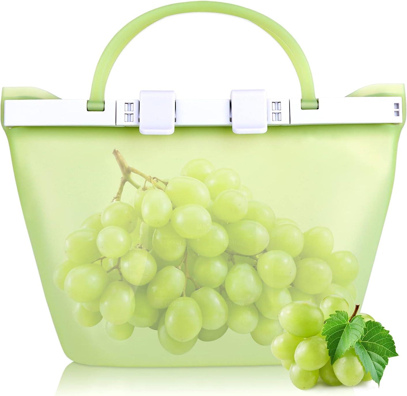 SANEIYA Reusable Silicone Food Storage Bags, Portable Leak-proof Silicone Reusable Food Bag For Refrigerator, Standable Silicone Bags For Food Storage, Dishwasher Safe, Eco-friendly (1500ml)