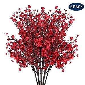 AILANDA 6PCS Silk Baby's Breath Bush in Red Artificial Flower Fake Gypsophila Bouquets Vase Decoration Flowers for Home, Party Venue, Table Centerpieces, Backdrops