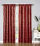 Window Elements Dawson Shimmering Leaf Extra Wide 54 x 84 in. Rod Pocket Curtain Panel, Burgundy For Sale