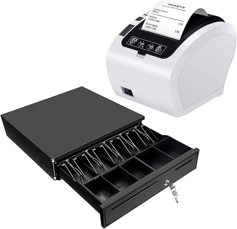MUNBYN WiFi Receipt Printer with Black Cash Drawer, 16
