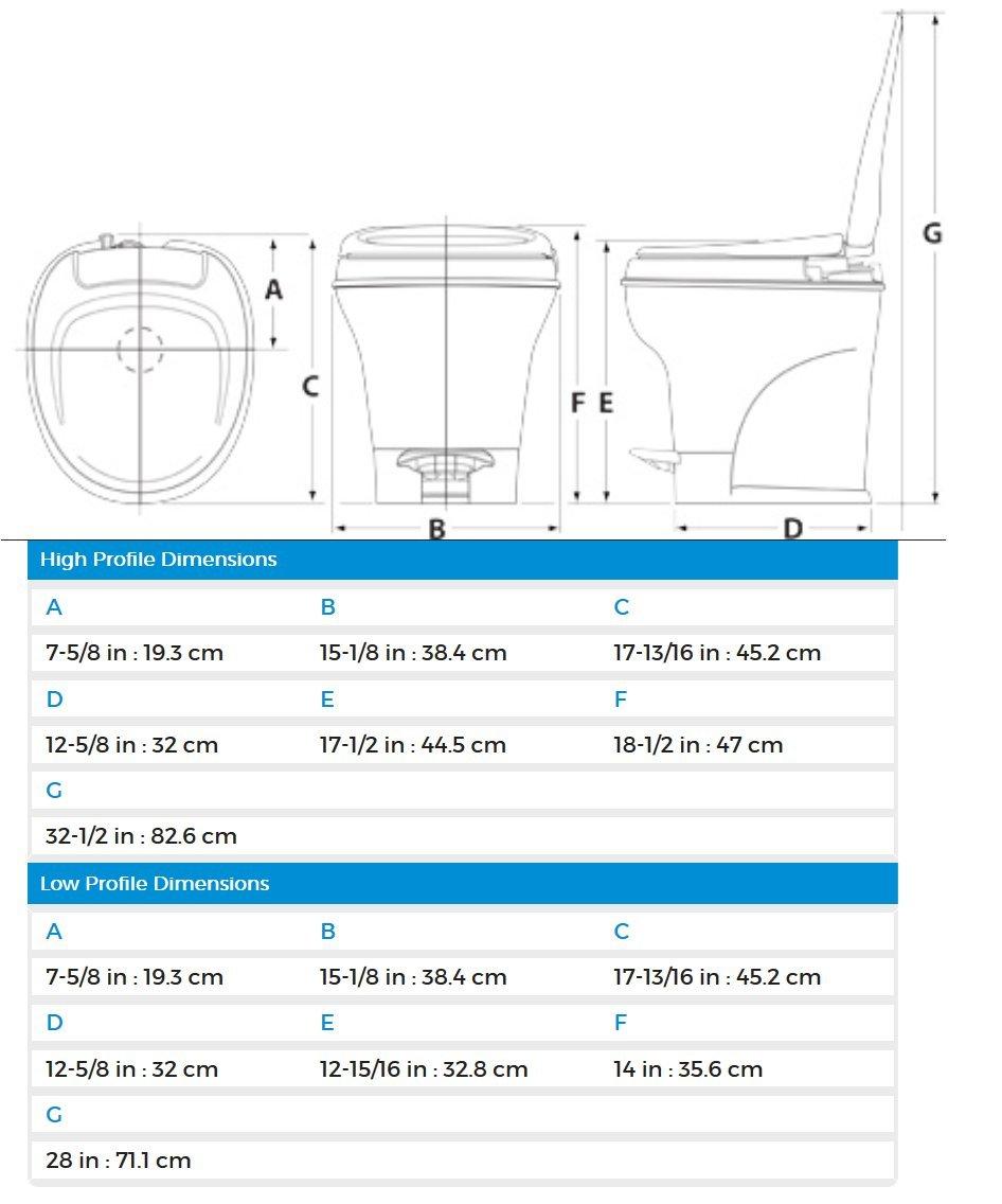 Thetford Parchment Aqua-Magic V RV Toilet-Low Profile Color-Hand Flush 31647 by Thetford