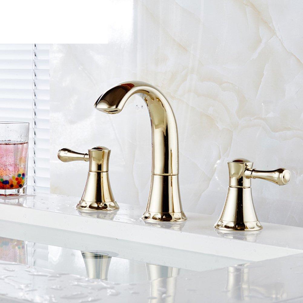 Golden Kupfer Wash Basin Wasserhahn Heiß und kalt Wasserhahn European-Style Bad Dreiloch-Mischbatterie-C