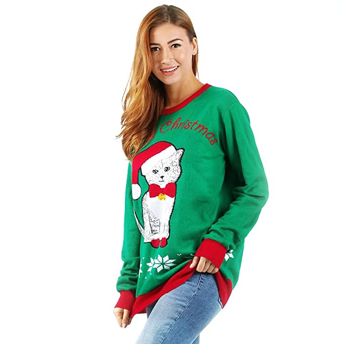 Uideazone Unisex Christmas Sweaters Fashion Men Women Warm Longsleeves Shirts Xmas Designs
