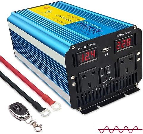 1500 W//3000 W DC 12 V Alimentation en Courant Alternatif 230 V Voiture Van Power Inverter Converter USB 4