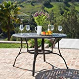 Calandra | Cast Aluminum Outdoor Circular Dining Table | in Bronze Review