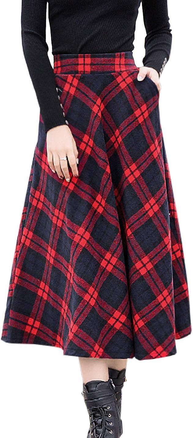 Firehood Women's Classic Wool Blend High Elastic Waist Long Plaid Skirt A Line Check Flare Swing Midi Skirts
