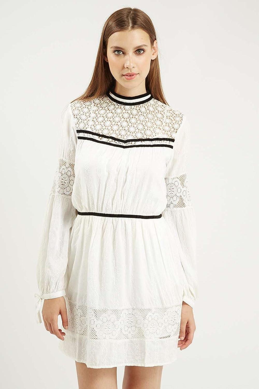Topshop Velvet Trim Lace Lacy White Cream Victorian Edwardian Femmine Vintage Dress (UK 10): Amazon.co.uk: Clothing