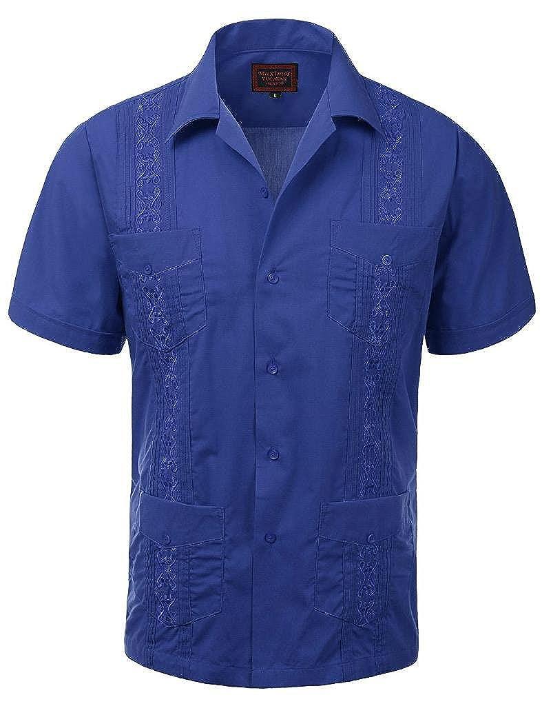 vkwear Guayabera Mens Cuban Beach Wedding Short Sleeve Button-up Casual Dress Shirt