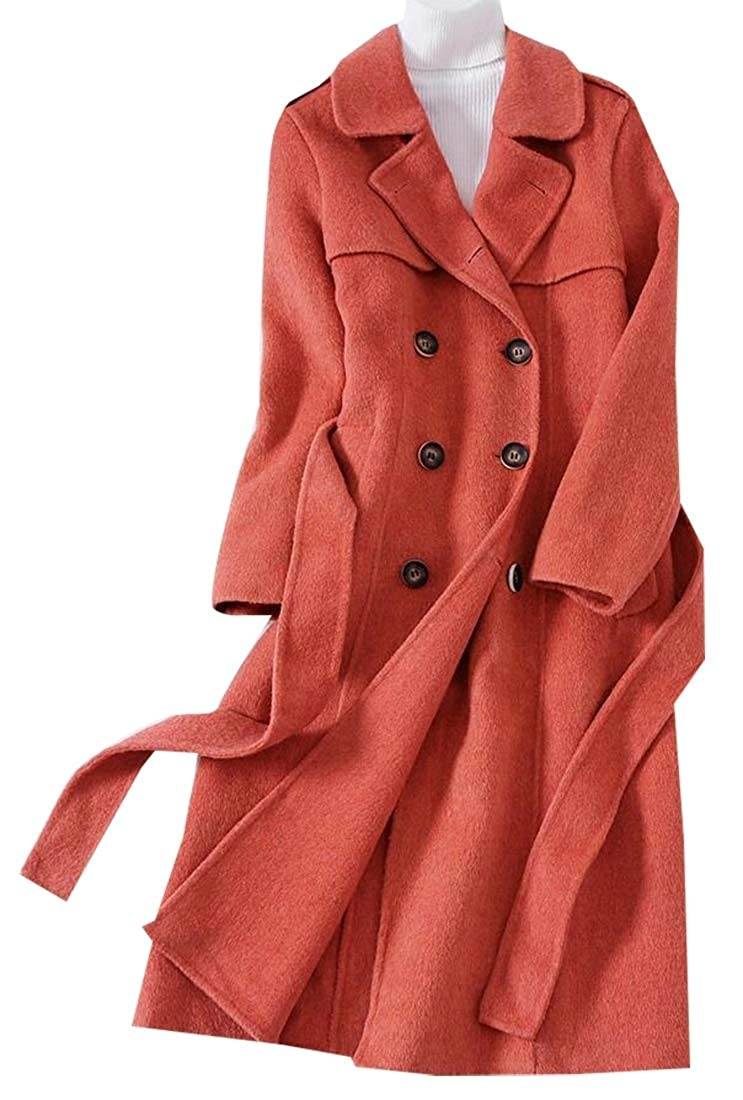 1 jxfd Winter Laple Long Wool Trench Coat Double Breasted Overcoat with Belt