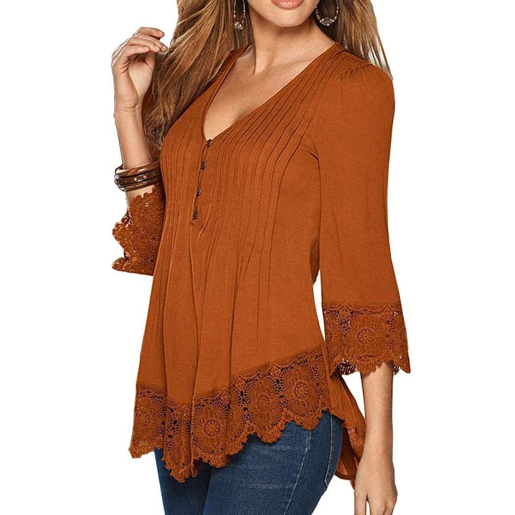 cd310c0341c6b8 eshion Women's Flare Sleeve Lace Splice Loose Trim Casual Blouse T-shirt  Tops at Amazon Women's Clothing store: