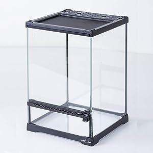 REPTIZOO Mini Reptile Glass Terrarium,Front Opening Door Full View Visually Appealing Mini Reptile or Amphibians Glass Habitat