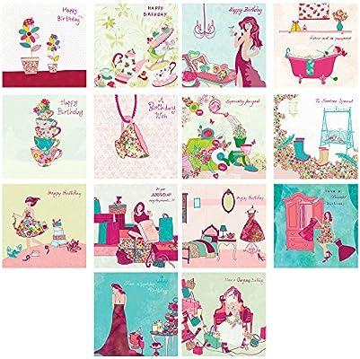 Pack de 14 - lujo cuadrado hembra tarjetas de felicitación ...