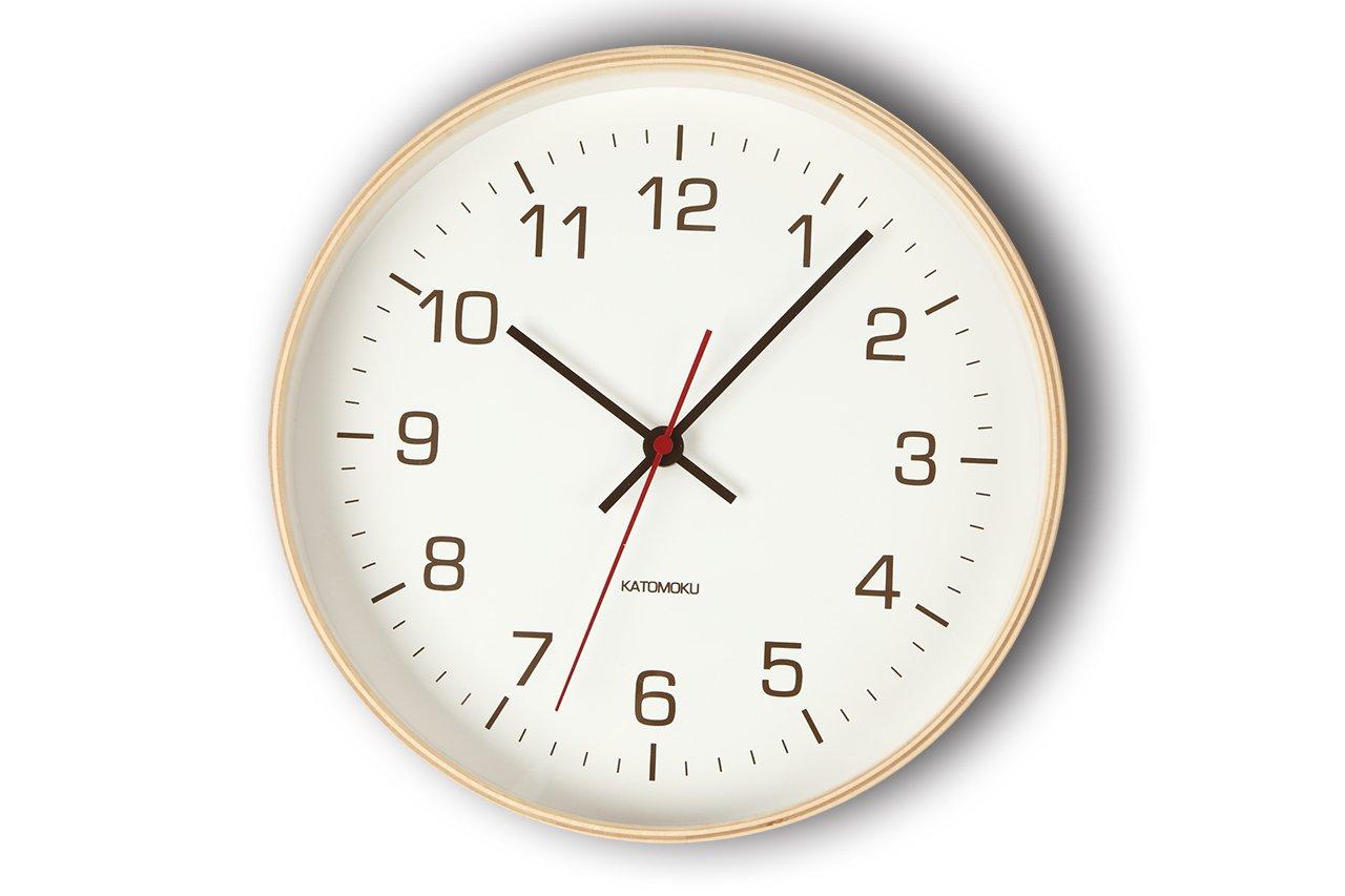 KATOMOKU plywood wall clock 4 電波時計 連続秒針 km-44NRC φ252mm B01CDPBOWC