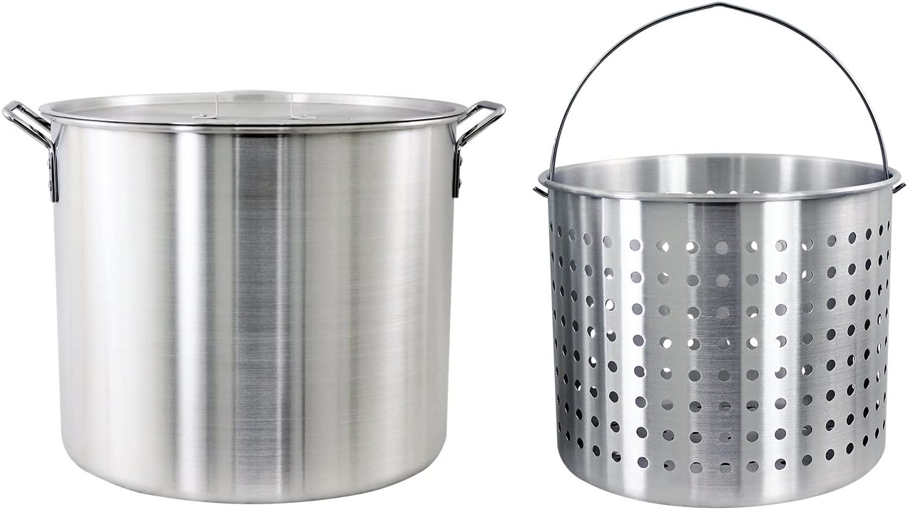 CHARD ASP60, Aluminum Stock Pot and Strainer Basket Set, Silver, 60 quart,Large
