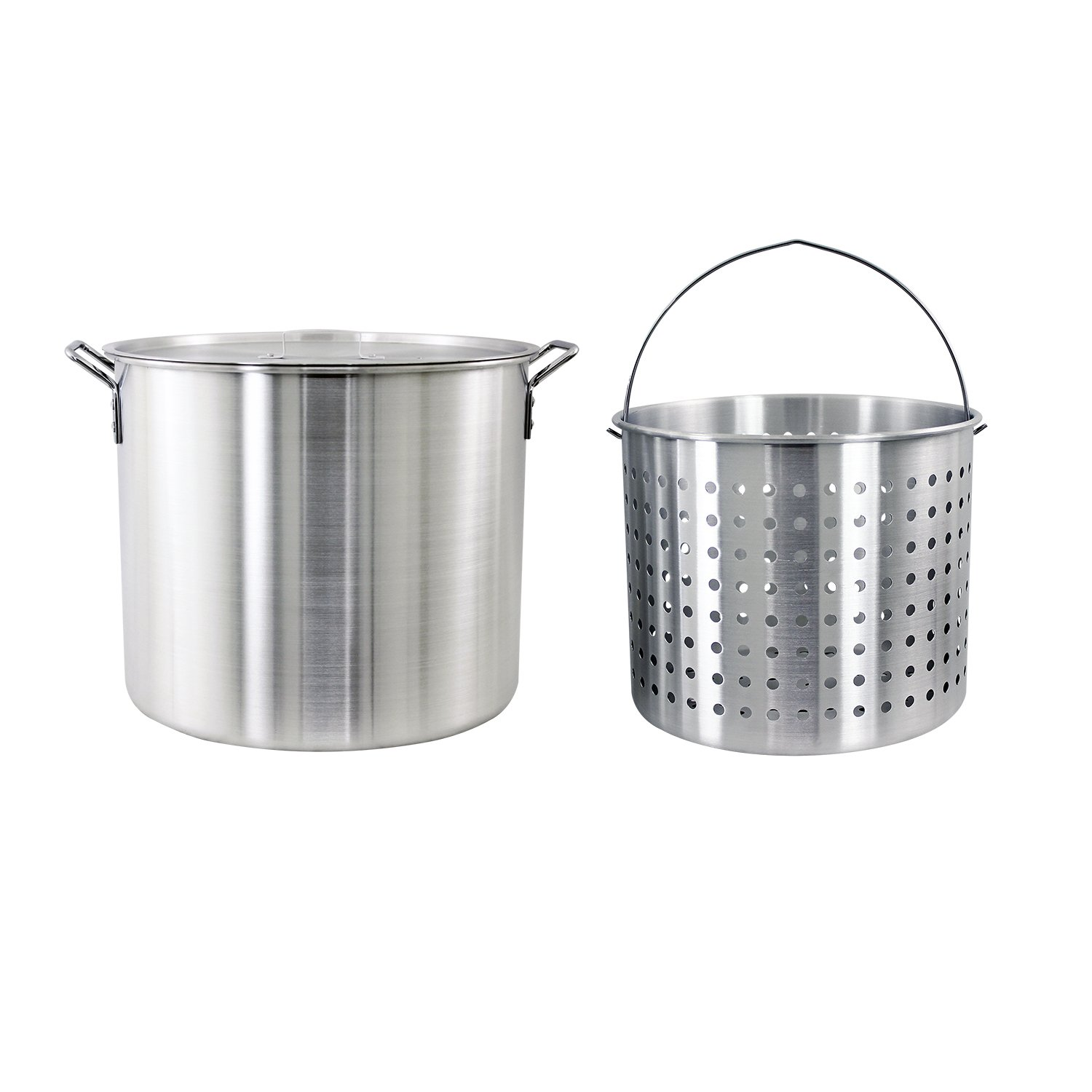 CHARD ASP60, Aluminum Stock Pot and Strainer Basket Set, Silver, 60 quart