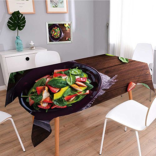 Tablecloth Burlap Cotton Tablecloths Healthy Salad Plate with Avocado Strawberry Chicken and Spinach on Wooden Background top View for Rectangle/Oblong/Oval ()