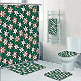 Nalahome 5-piece Bathroom Set-Includes Shower Curtain Liner,Stylized Poker Chips Pirate Symbols Money Sword Cross Bone Skull Risk Print Bathroom Rugs Shower Curtain/Bath Towls Sets(Medium size)