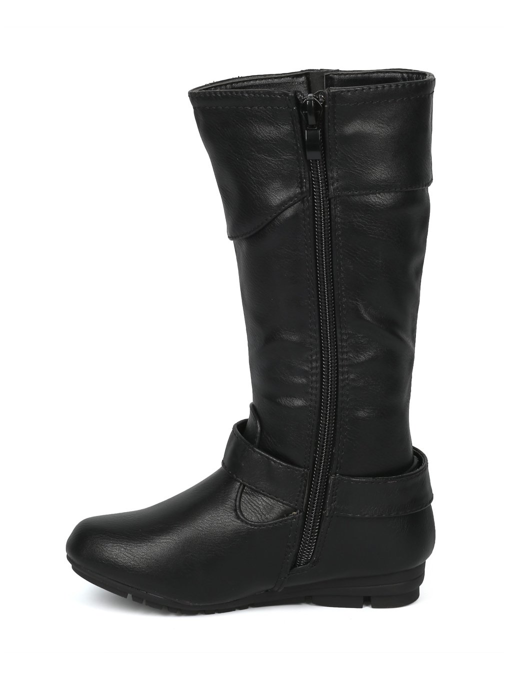 Alrisco Girls Leatherette Buckled Tall Riding Boot HF94 - Black Leatherette (Size: Little Kid 11) by Alrisco (Image #4)