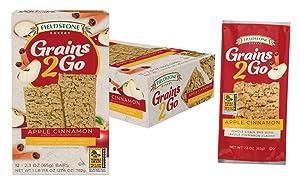 Fieldstone Bakery Grains2Go Whole Grain Apple Cinnamon Breakfast Snack Bars, 12 Boxes, 144 Whole Grain Bars