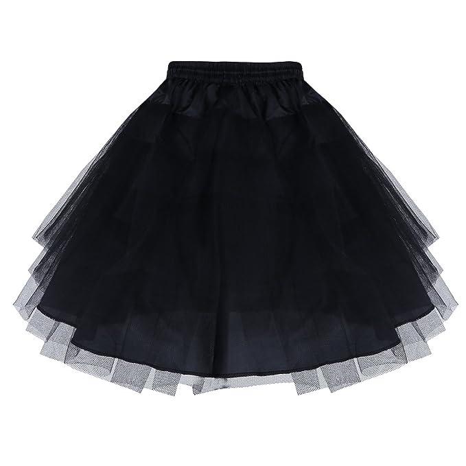 check out ef027 757a3 YiZYiF 3 Ringe Kinder Reifrock Mädchen Unterrock Tüll Krinoline Petticoat  Ballettrock Schwarz/Weiß