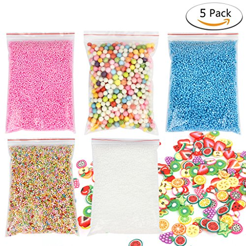 2' Styrofoam Balls (Foam Balls for Slime, iBayam Colorful Styrofoam Balls Beads Mini 0.1-0.18 inch Decorative Ball Arts DIY Crafts Supplies For Homemade Slime, Kid's Craft, Wedding and Party Decoration (5 pack))