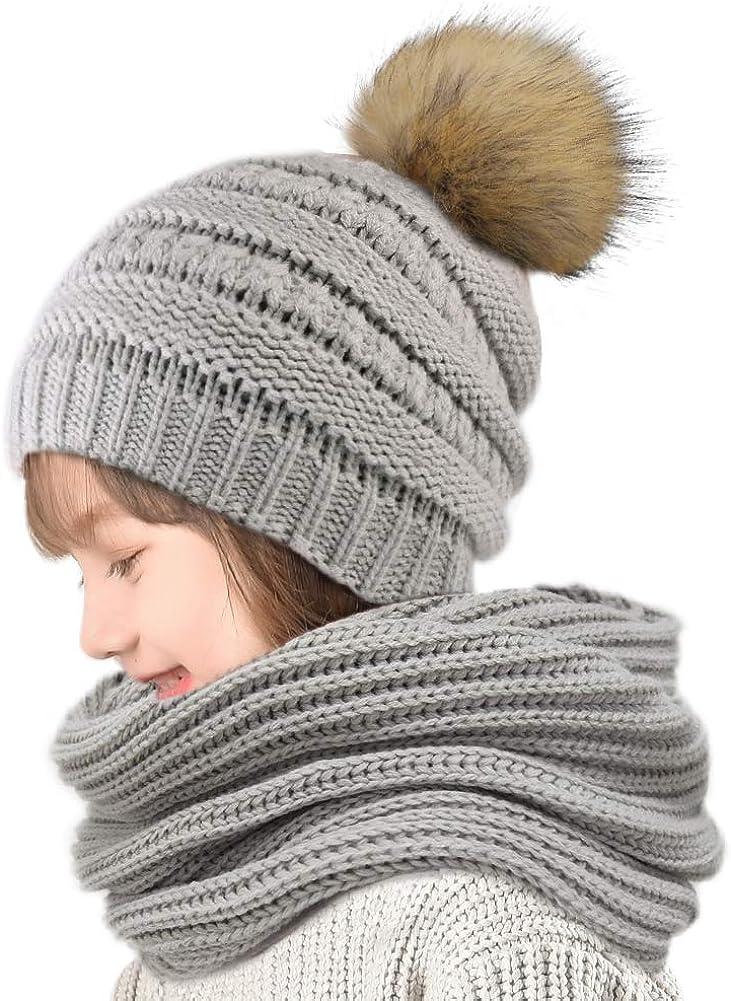 Grey FURTALK Kids Winter Pom Knit Hat Cashmere Feel Toddler Beanie Cap for Girls and Boys Aged 2-8