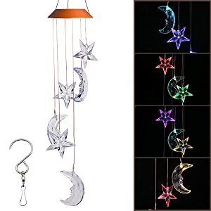 Stormshopping LED Solar Moon and Star Wind Chime, Changing Color Waterproof Six Hanging Lights Wind Chimes Solar Mobile for Home Party Night Garden Decoration