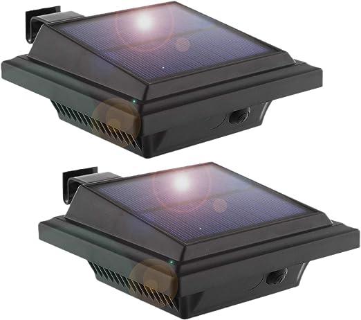 Lámpara LED solar Canalón, keenzo Solar Leuchten 25 ledes solar luces de jardín negro, valla lámpara exterior lámpara de pared Lámpara Balcón Lámpara poste, Inalámbrico, luz blanca fría (Juego de 2): Amazon.es: