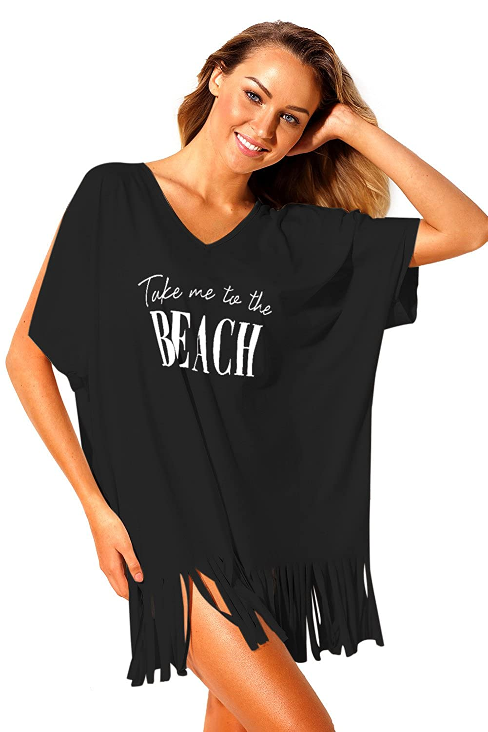 80c768f6ef Amazon.com: Black Loose Fit Take me to The Beach Cover up: Clothing
