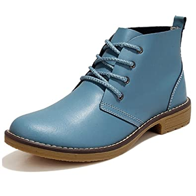 Leather Ankle Boots For Women Lace Up Casual Oxfords Shoes Combat Boots Booties