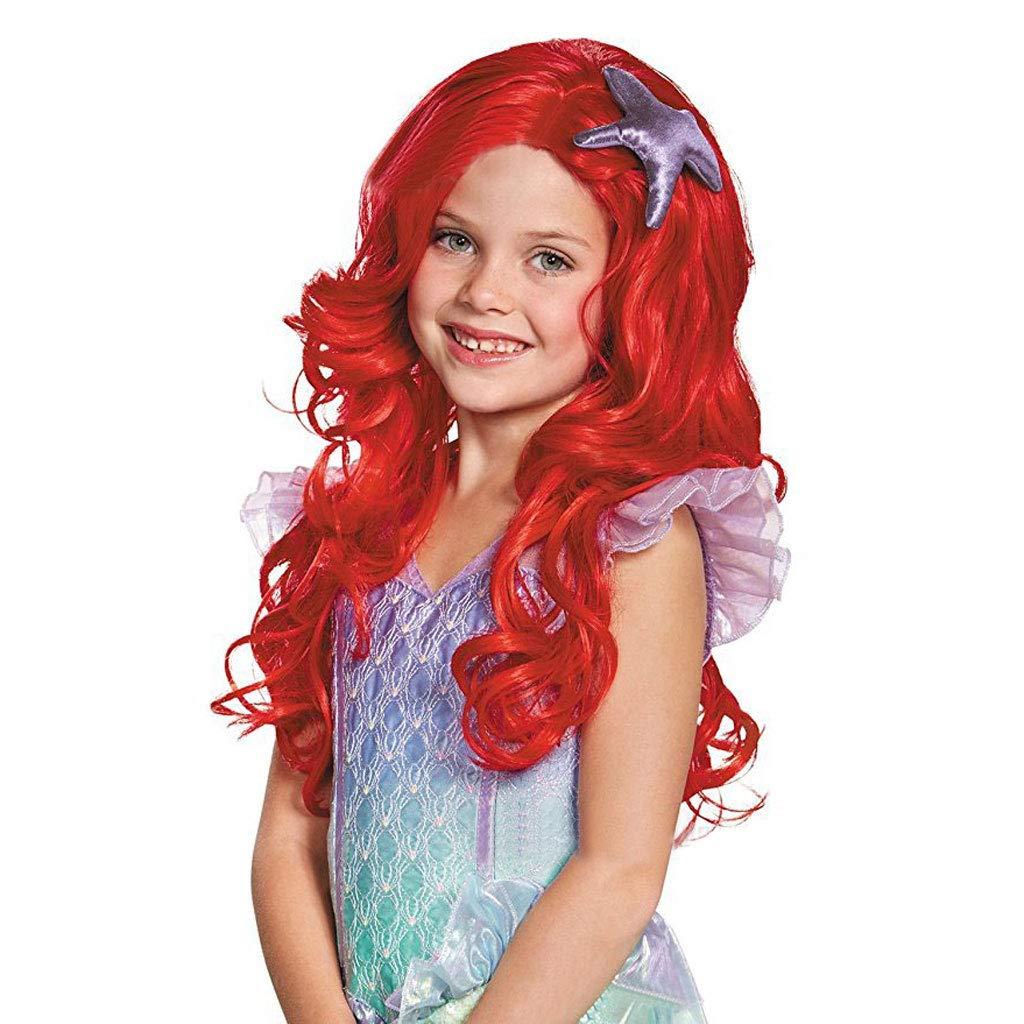 Meen Peluca de Las Muchachas, Peluca roja Larga de Moda del Partido de la Sirena Cosplay Larga del Rollo: Amazon.es: Hogar