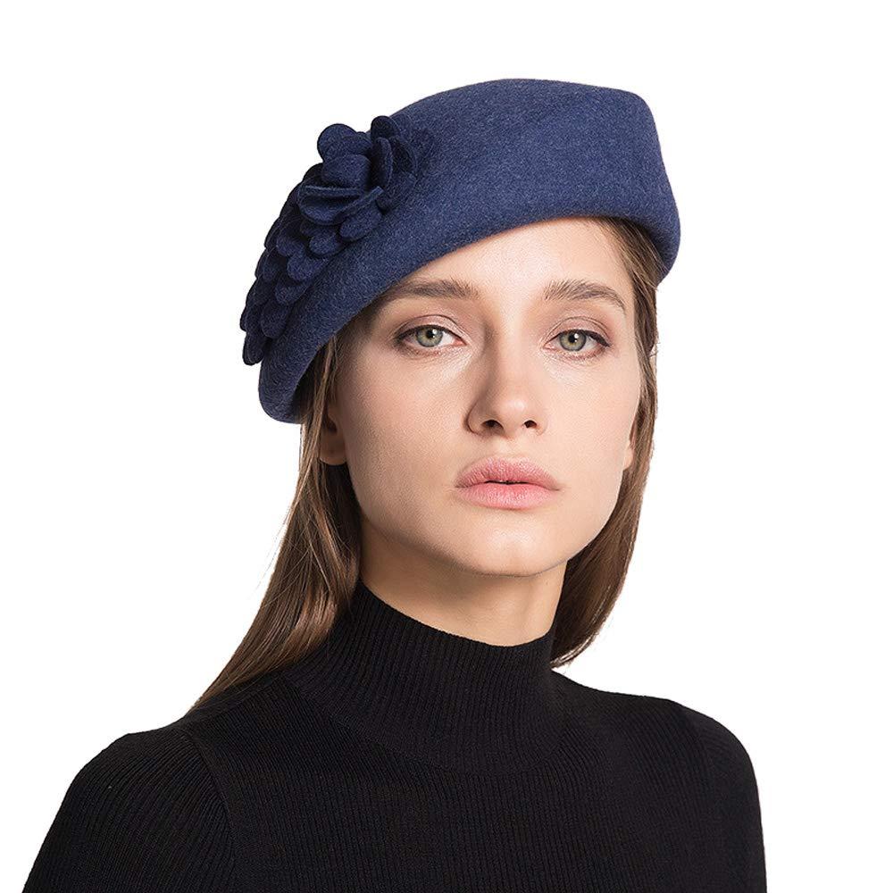 bluee MemoZone Australian Wool Beret Artist Hat Autumn and Winter Warm Hat for Women Girls Lady