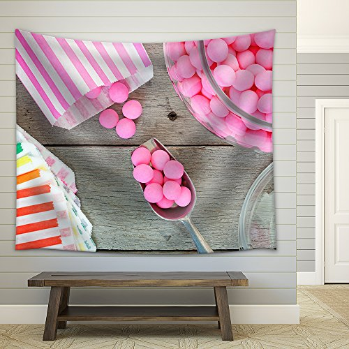 Old Fashioned Candy Jar Full of Pink Peppermints Being Distributed into Individual Candy Bags Fabric Wall Tapestry