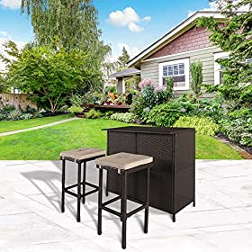 Cloud Mountain 3 PC Cushioned Wicker Bar Set Patio...