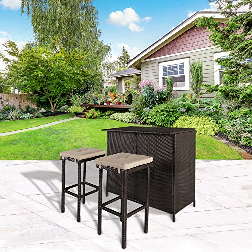 Cloud Mountain 3 PC Cushioned Wicker Bar Set Patio Outdoor Garden Backyard Rattan Table & 2 Stools Furniture Set