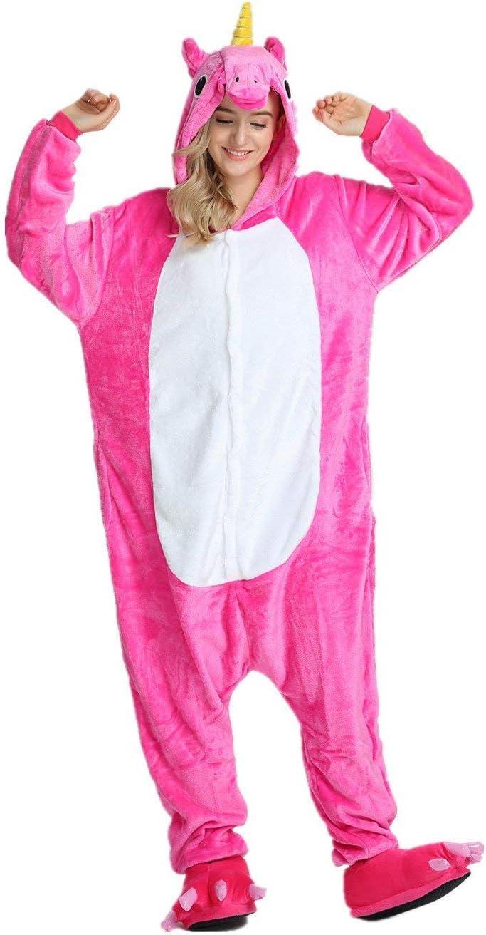 S Pyjama,f/ür das Halloween 140-160CM Regenboghorn Unisex Einhorn kost/üme Karneval und Weihnachten mit der Kapuze Schlafanzug , Rose