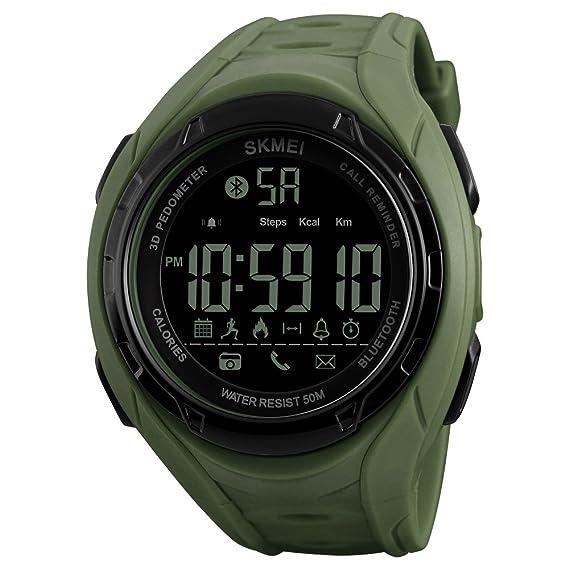 Reloj digital deportivo con indicador de batería baja, podómetro, calorías, resistente al agua, con Bluetooth, para hombres, color verde militar: Amazon.es: ...