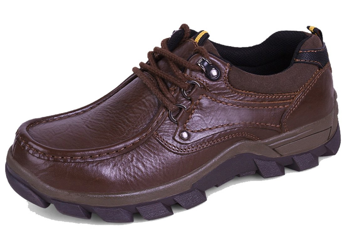 TDA Men's Casual Rubber Sole Lace-up Dark Brown Synthetic Anti-Skid Wear Outdoor Hiking Tooling Shoes 12 M US