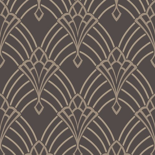Astoria Deco Wallpaper Charcoal and Silver Rasch 305319 (Wallpaper Art Deco)