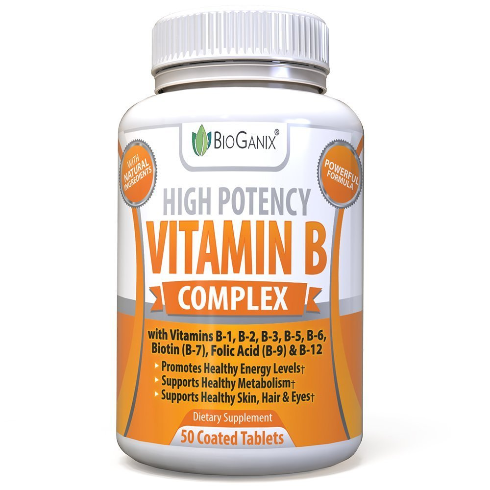 Vitamin B Complex - Vitamin B12, B1, B2, B3, B5, B6, B7 Biotin & B9 Folic Acid - Vegan and Non-GMO Capsules for Metabolism Booster, Boost Energy, Skin, Hair and Eyes Supplement - 50 Capsules