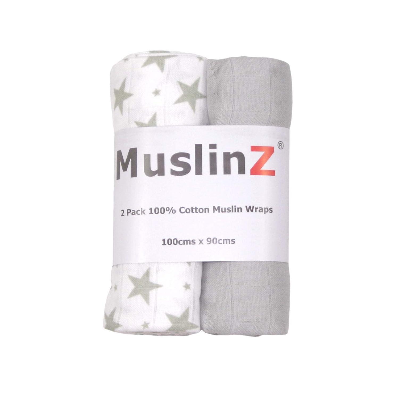 dise/ño de estrellas Muslinz Premium tama/ño X color gris Juego de 2 mantas de muselina para beb/é