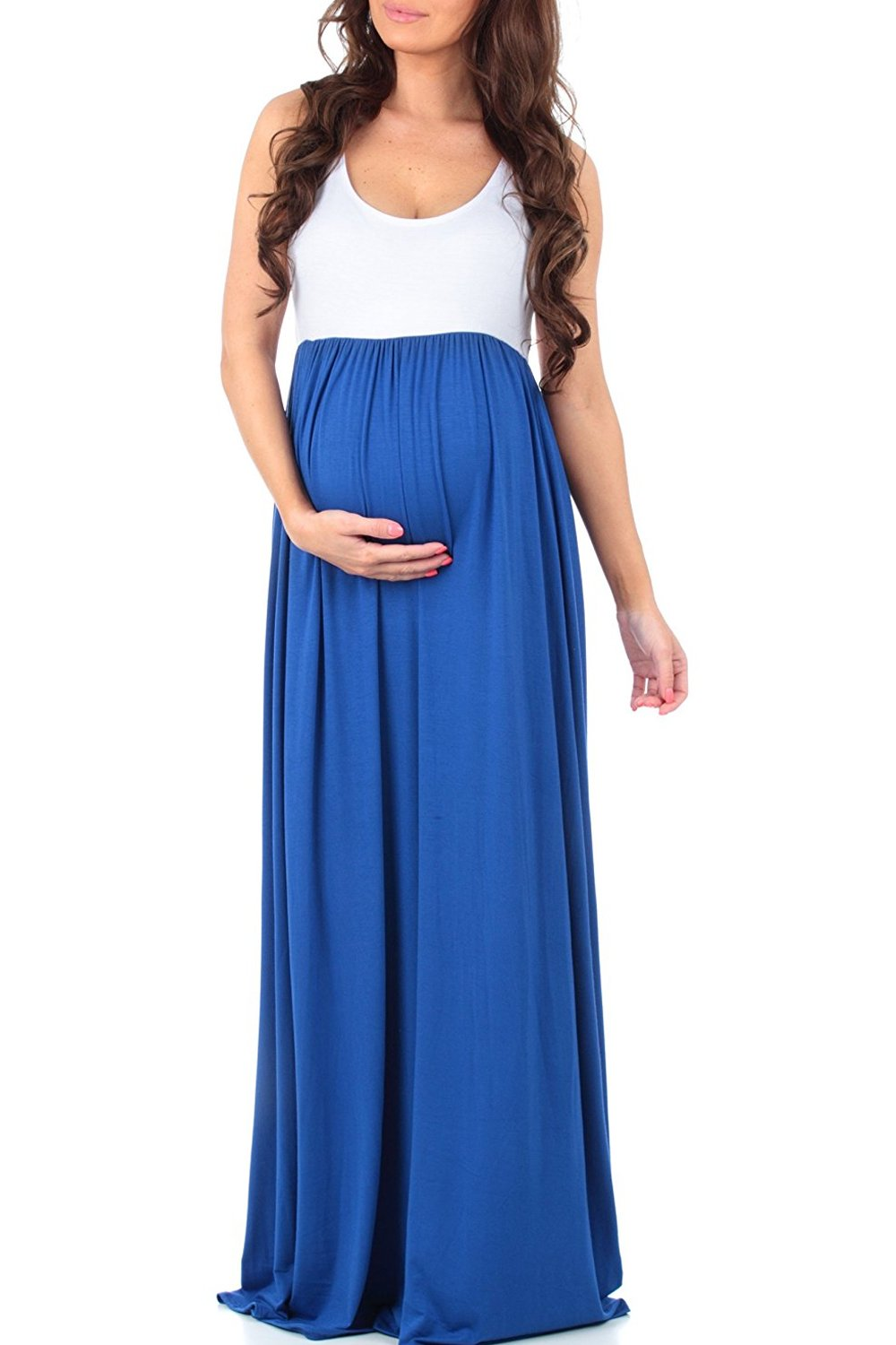 MANNEW Maternity Dress Sleeveless Maxi Dress Tank Stitching Color Block Stretch Causual Wrap Dress Ruched Gowns Blue X-Large