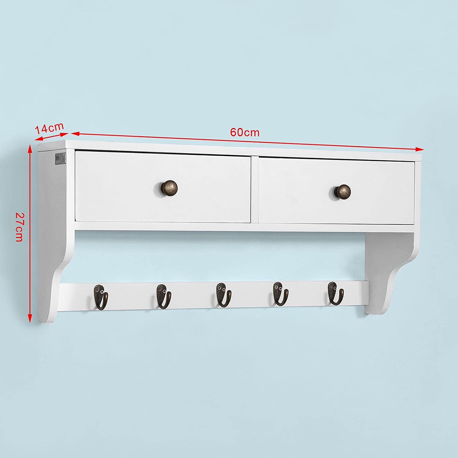 SoBuy FRG178-W,ES Moderna Estantería de Pared, Perchero, Estante de Pared, Estante, con 5 Ganchos y Dos Cajones,Blanco