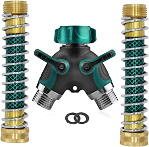 Ambuker Garden Hose Splitter 2 Way Heavy Duty 2 Kink-Free 3/4 Faucet Extension Hose Protector Dual Hose Connector Comfortable Rubberized Grip for RV Water Hose 2 Rubber Washers