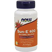 NOW Supplements, Sun-E 400 IU with d-alpha Tocopherol from Non-GMO Sunflower Oil, 60 Softgels