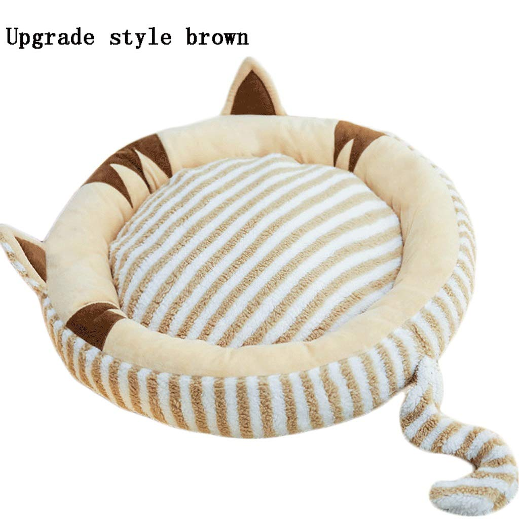 BROWN 75x60cm BROWN 75x60cm Hongyan Pet Beds Pet Dog Luxury Round Cushion Bed Detachable Cleaning Cat Litter Suede Small Medium And Large Size Pillow Mattress Winter Warm A+ (color   BROWN, Size   75x60cm)