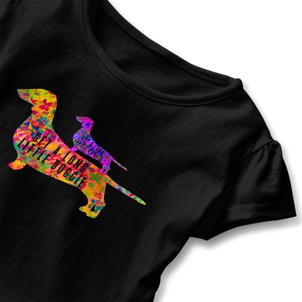 CZnuen Doggie Cute Tie Dye Daschund Baby Girls Basic Short Puff Sleeve Round Neck Ruffle T-Shirt