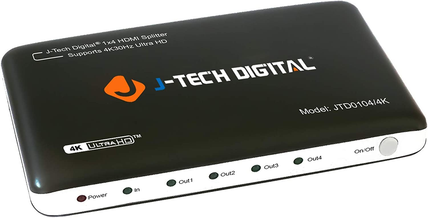 J-Tech Digital HDMI Splitter 1X4 4K@30Hz Most Advanced 4 Ports HDMI Powered Splitter Support Ultra HD 3840 A 2160 Resolution and 3D