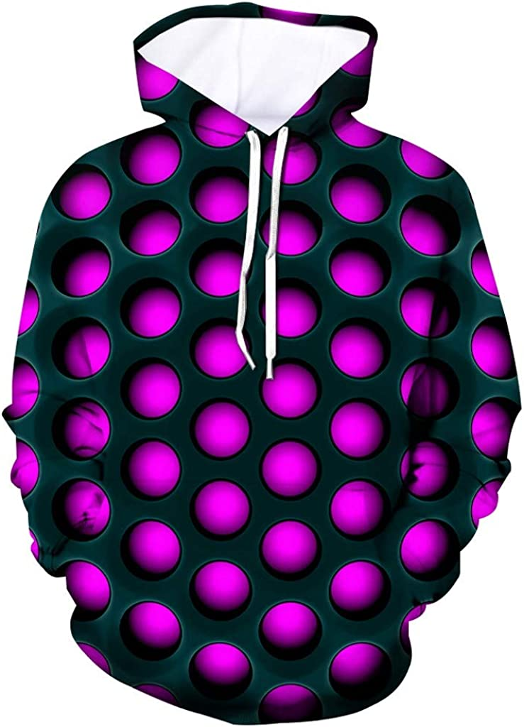 ASOBIMONO Unisex 3D Stun Print Pullover Hoodie Funny Pattern Mens Hooded Sweatshirts Pockets for Teens Jumpers